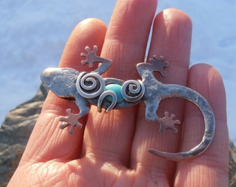 Sterling silver and copper lizard pendant - handmade