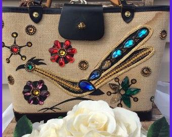 Vintage Enid Collins Roadrunner Jeweled pocketbook with leather handles