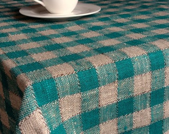 Checked linen tablecloth, rustic linen burlap 57 inch square table cloth, green gray grid picnic blanket, beach blanket