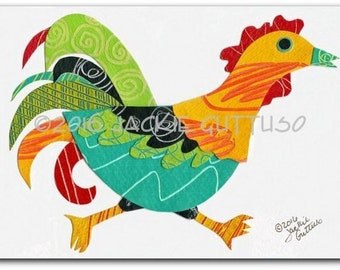 """Original rooster collage art, 5 x 7"""", Whimsical chicken, Acrylic farm animal nursery, Running rooster, Colorful rooster art, Farm kitchen"""