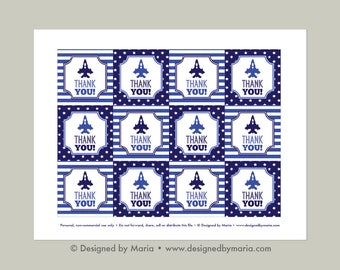 Air Force Thank You Tag Printable: Party Favor Tags for Goodie Bags - Military Farewell, Deployment, Airplane Birthday Party, Blue and White
