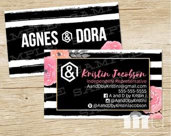 Custom Agnes and Dora Business Cards, Agnes & Dora Consultant Biz Card, Black Stripe Floral Personalized Marketing Kit / Branding, PRINTABLE
