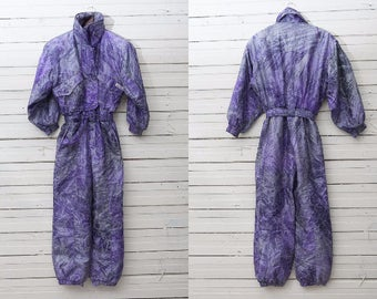 Retro Ski Onesie / 1980s True Vintage Purple Violet Grey Skiwear Onepiece Snow Suit / Size 40 / Men Snowboarding Clothing / Snow Overall