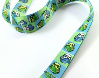 "Cute Budgie Lanyard, 18"" Lanyard with Lobster Clasp, Budgie Badge Holder, Budgie Gift, Stocking Stuffers, Gift for Bird Lover"