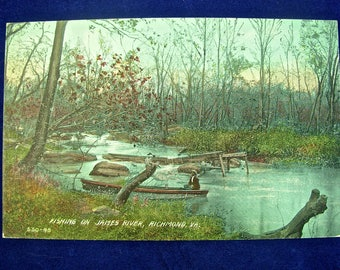 BLACK AMERICANA POSTCARD, Fishing on the James River, Richmond, Va.