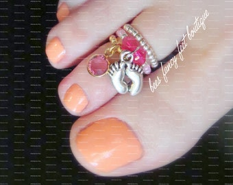Stacking Toe Ring | Baby Girl Feet Charm | Pink Austrian Crystal | Stretch Bead Toe Ring