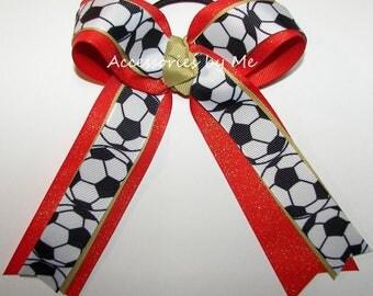 Sparkly Soccer Bow, Custom Soccer Clip, Soccer Ball Ribbon Bow, Sparkly Orange Gold Ponytail Holder, Soccer Team Bulk Bows, Soccer Cheap Bow
