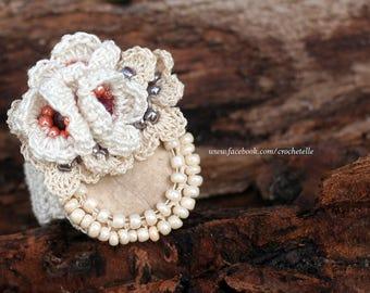 Cream crochet ring