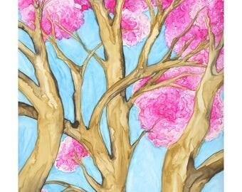 Peaceful Cherry Tree watercolor giclee print