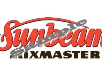 Sunbeam Mixmaster Replacement Mixer Logo Decal for Model 9, 10A, 11C.