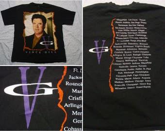 Vintage Retro Men's 90's Vince Gill Tour Tee shirt Black Country Short Sleeve T-shirt Large