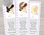 First Communion Bookmark, Digital File Personalized, Communion cards, baptism favors, communion favors, remembrance cards