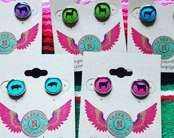 Livestock post earrings, 4H, FFA, Farm girl, stock show, goat, pig, steer, lamb, gift