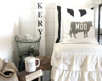 "cow pillow, moo pillow, farmhouse pillow, farmhouse decor, animal pillow, ""The Cow"""