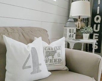 "grain sack pillow, farmhouse pillow, farmhouse decor, rustic pillow, rustic decor, ""The Cattle Feed"""