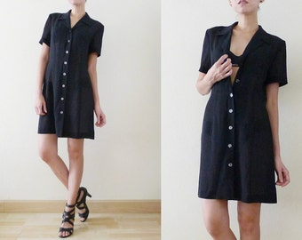 VTG plain black semi sheer mini dress with collar, short sleeve, see through, button up, Wednesday Addams, grunge, gothic, punk, witch, S-M