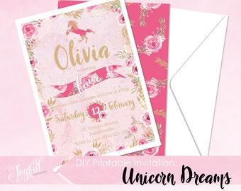 Unicorn Birthday Party Printable Invitation