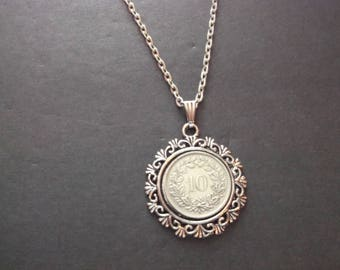 Swiss 10 Rappen Coin Necklace - Swiss 10 Rappen Coin Pendant in Pendant Tray-