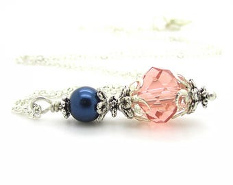 Peach and Navy Bridesmaid Necklaces, Coral and Blue Bridesmaid Jewellery, Crystal Bridal Sets, Bridal Necklaces, Simple Wedding Jewellery