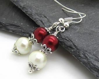 Ivory and Claret Pearl Drop Earrings, Bridesmaid Jewellery,  Burgundy Wedding Earrings, Dark Red Pearl Dangles,  Bridesmaid Gift Idea,