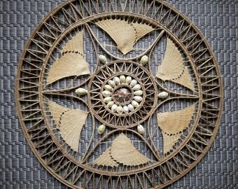 African Shell and Woven Rattan Mandala Wall Hanging Decor