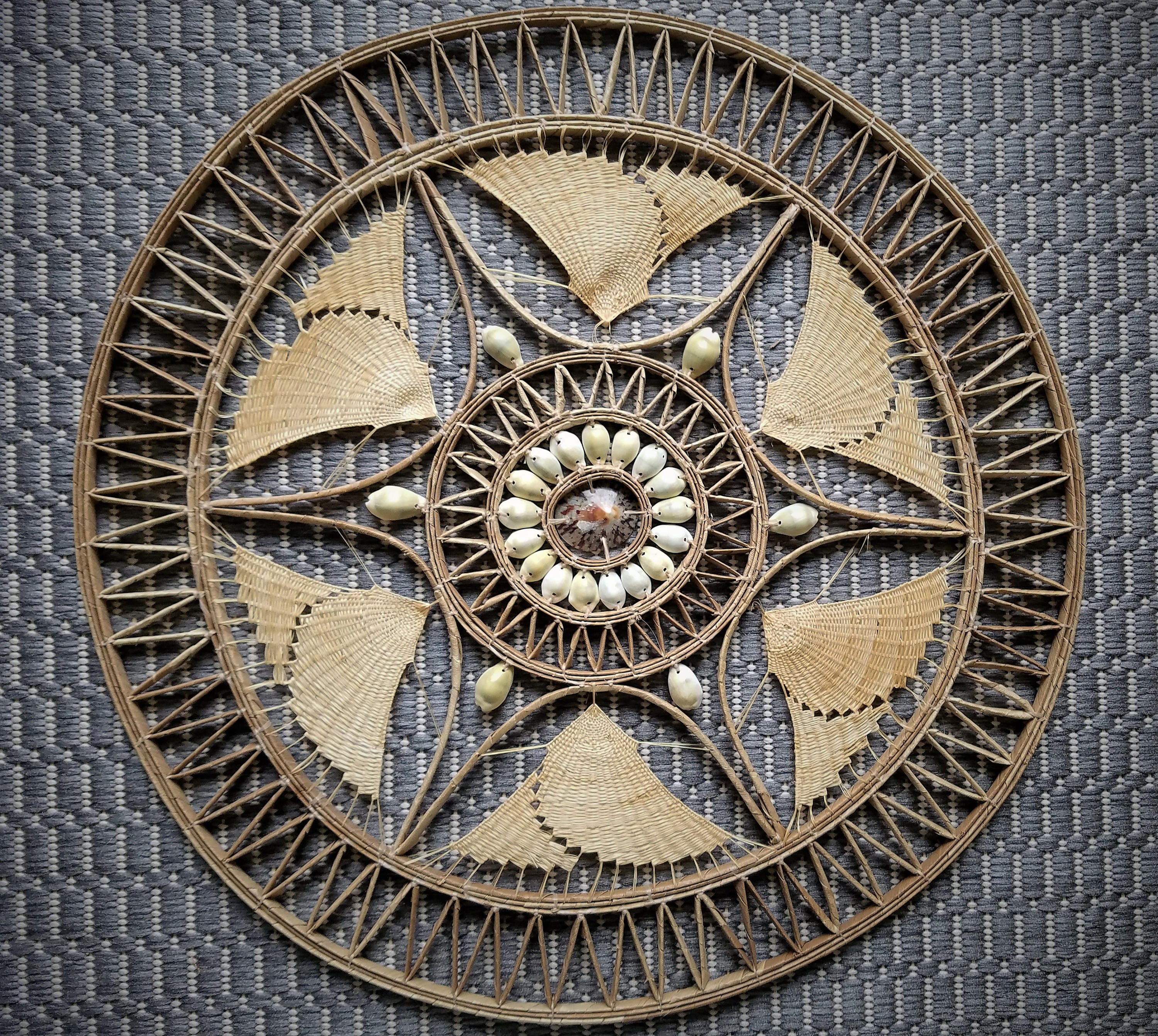 African Shell And Woven Rattan Mandala Wall Hanging Decor