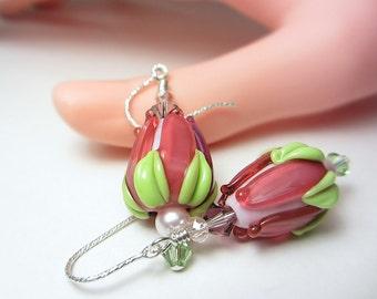 Artisan Lampwork Earrings Cranberry Rose Bud Earrings Pink Earrings Dark Pink Earrings Floral Earrings Flower Bud Earrings Nature Earrings