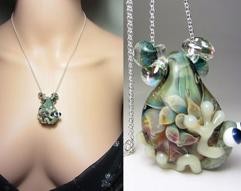 Artisan Lampwork Necklace One of a Kind Necklace Frog on Flower Pendant Floral Necklace Nature Necklace Boro Necklace Unusual Gift for Her
