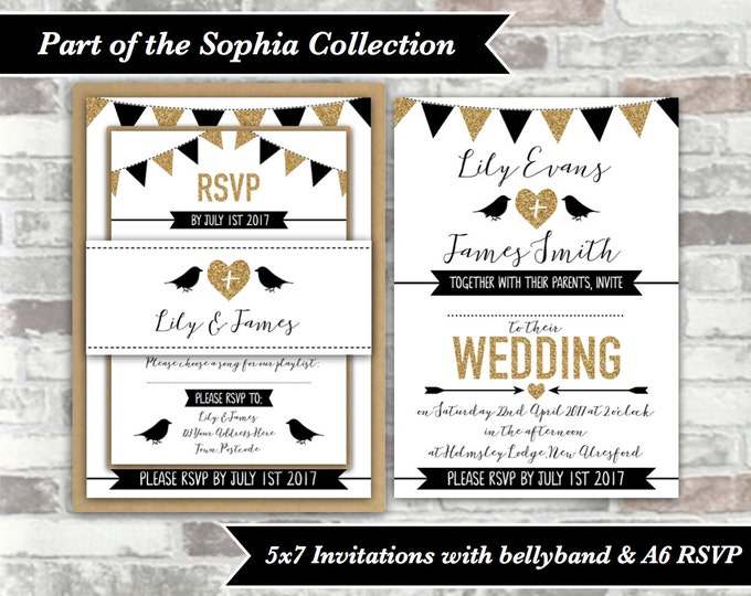 PRINTABLE Digital Files - Sophia Collection - Personalised Gold and Black Wedding Invitation Bundle - 5x7 Wedding Invites - Birds and Hearts