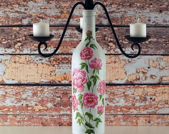 RESERVED custom order.   Wine bottle candelabra, hand painted pink peonies, rustic style, shabby decor,  cottage decor