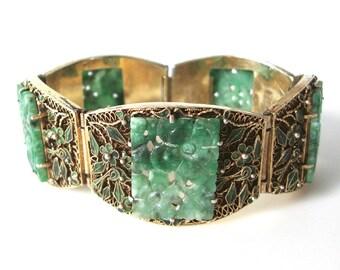 Antique Chinese Enamel Vermeil Sterling Silver Filigree Bracelet With Carved Jade