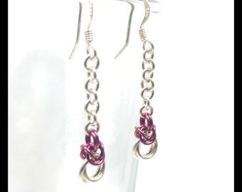 Sterling Silver Chainmaille Earrings - Byzantine Drop - Raspberry
