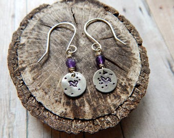 Heart charm earrings, amethyst gemstones, hearts and dots