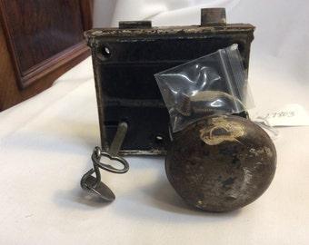 Antique Rim Lock with door knob and key