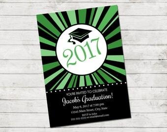 Graduation Party Invitation - Class of 2017 - Color Burst - Greens Black White - Printable