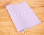 Handmade Leather Traveler's Notebook, Midori style in Passport / Pocket / A6 size - Lavender Lilac