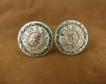 Men's Cufflinks Aztec Cufflinks Sterling Cufflinks 10K Gold Cufflinks Mens Accessories Gold and Sterling Cuff Links Gifts For Him SALE
