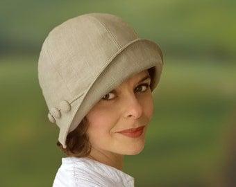 Eleanor - 1920s 1930s Cloche Hat for Summer or Autumn Custom Size Linen