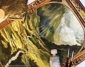 Gilded prints of 'Ring Goes to Rivendell' landscape illustration LotR