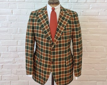 Vintage 1970s Orange Green & White Tweed 2 Button Sport Coat. Size 46 Long 2230