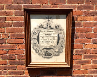 Antique Odd Fellows Fraternal Order Emblematic Lord's Prayer Our Father lithograph framed friendship love truth