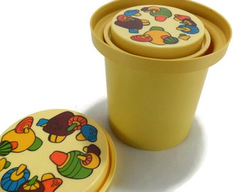 Vintage Kitchen Canister Set * Nesting Set of 2 * Rubbermaid Yellow Mushroom Storage Container