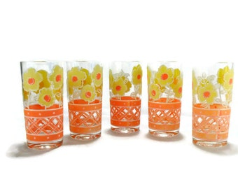 Vintage Culver Barware * Orange & Yellow Flower Power * Set of 5 Highball