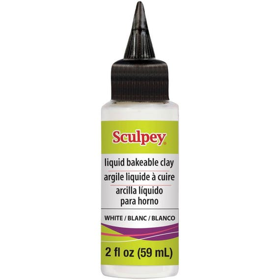 New sculpey WHITE liquid polymer clay use to embellish clay pieces, create bezels, cabochons and design details in molds