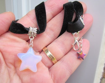 10% Discount! Welcome at my new CHOKER collection! Black Velvet ribbon & puffy STAR Opalite MOONSTONE 3-D Pendant!