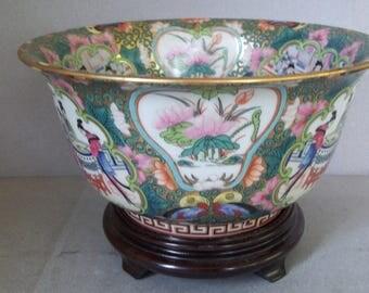 Vintage Large Porcelain Bowl - Chinese Porcelain Bowl - 1970s Famille Rose Porcelain Bowl
