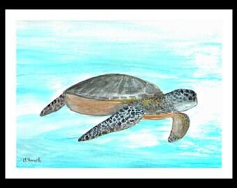 SALE Sea turtle painting sea turtle watercolour original watercolour turtle painting 12 x 9 inch one of a kind