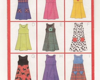 """A Pullover, Raised Waist, Fitted Bodice, Tie Ends, A-Line Jumper Pattern for Girls: Uncut - Sizes 6-7-8, Breast 25"""" - 27"""" ~ Butterick 5166"""