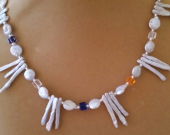 Mother-of-Pearl and Crystal Necklace