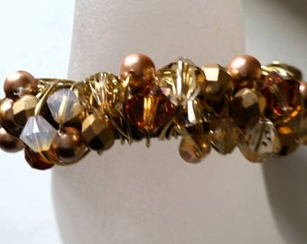 Glitter Gold Crystal and Pearl Bracelet